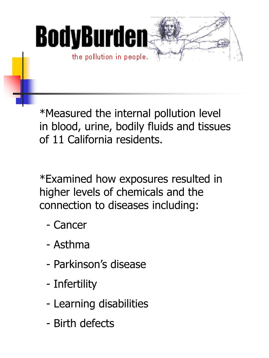 *Measured the internal pollution level in blood, urine, bodily fluids and tissues of 11 California residents.