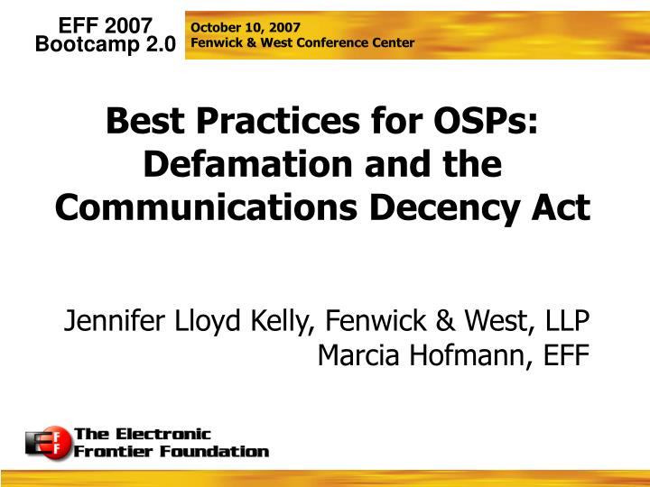 Best Practices for OSPs: