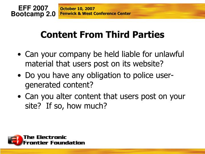 Content From Third Parties