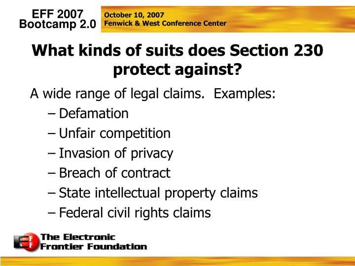 What kinds of suits does Section 230 protect against?