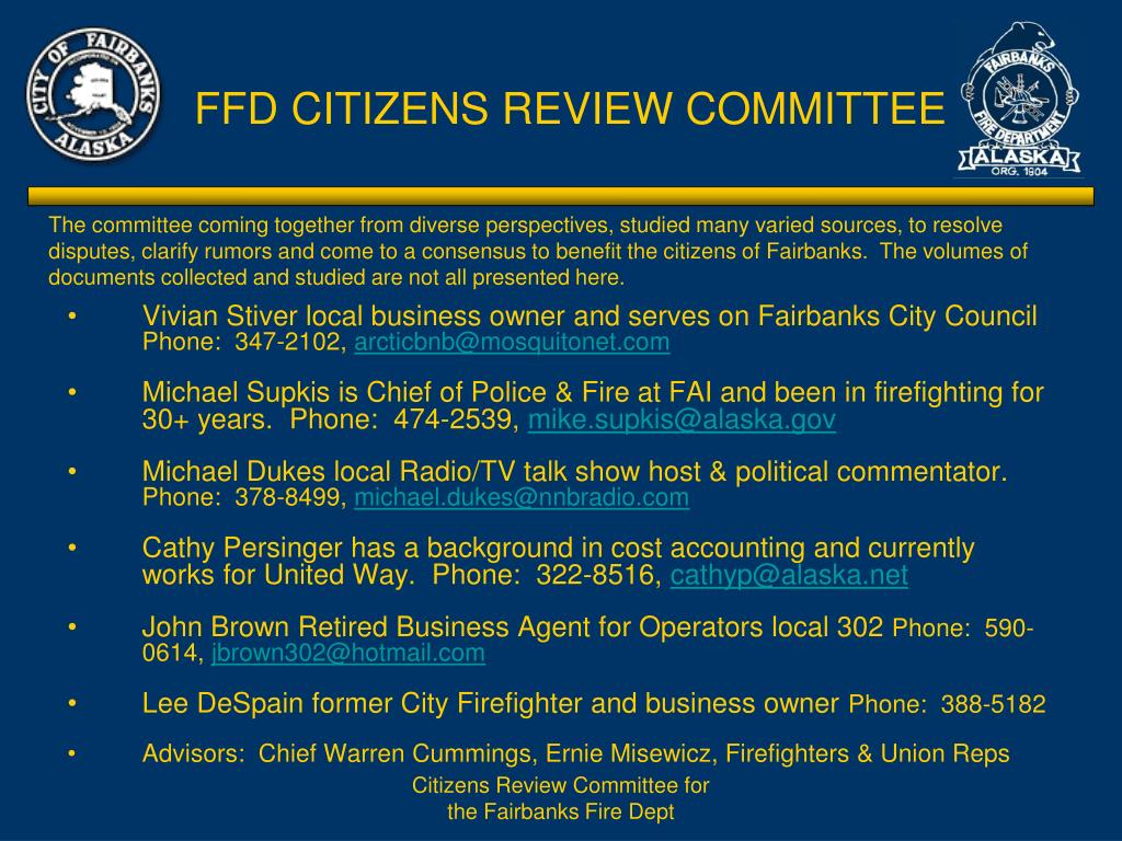 FFD CITIZENS REVIEW COMMITTEE