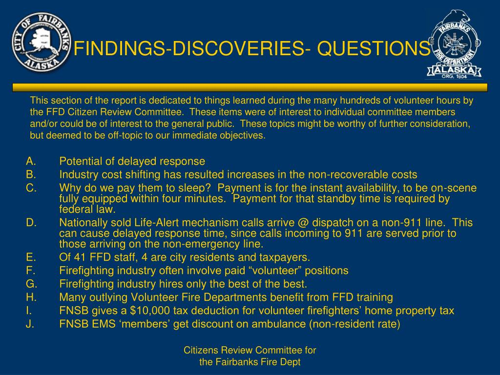 FINDINGS-DISCOVERIES- QUESTIONS