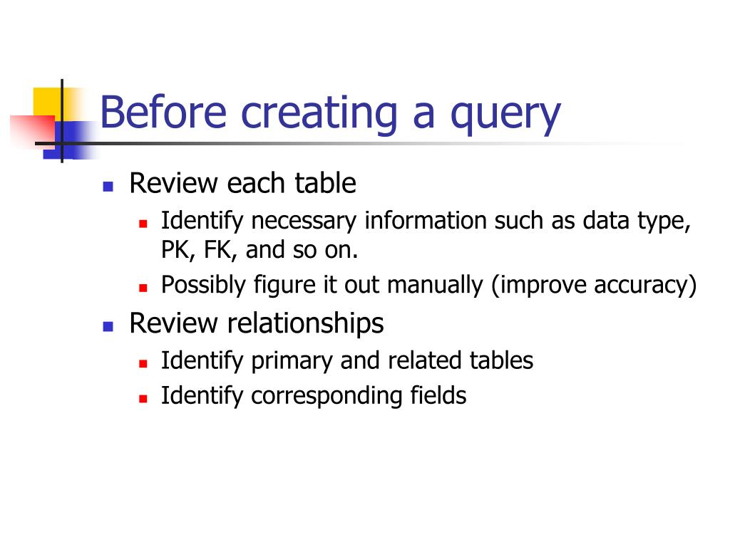 Before creating a query