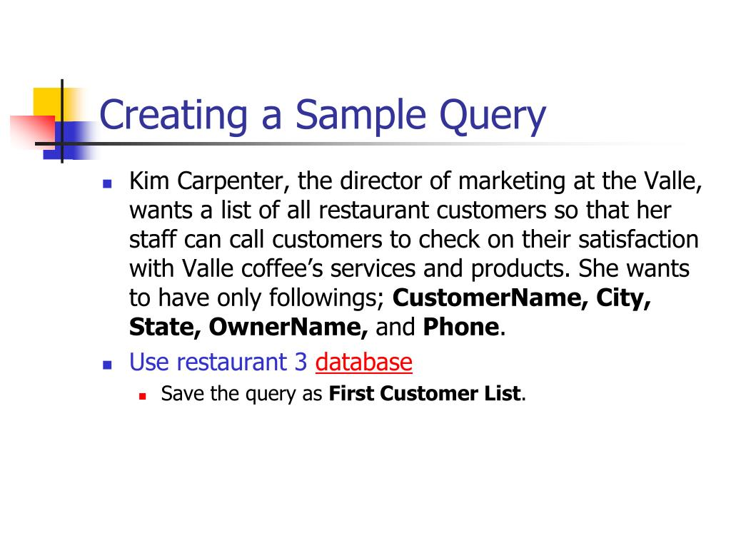 Creating a Sample Query