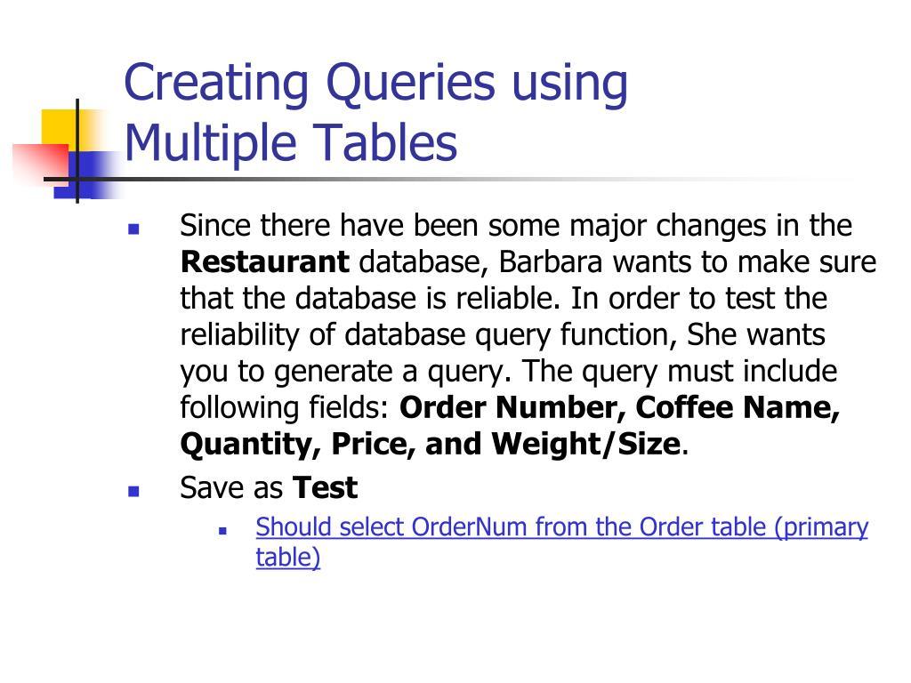 Creating Queries using