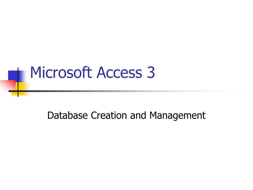 Microsoft Access 3