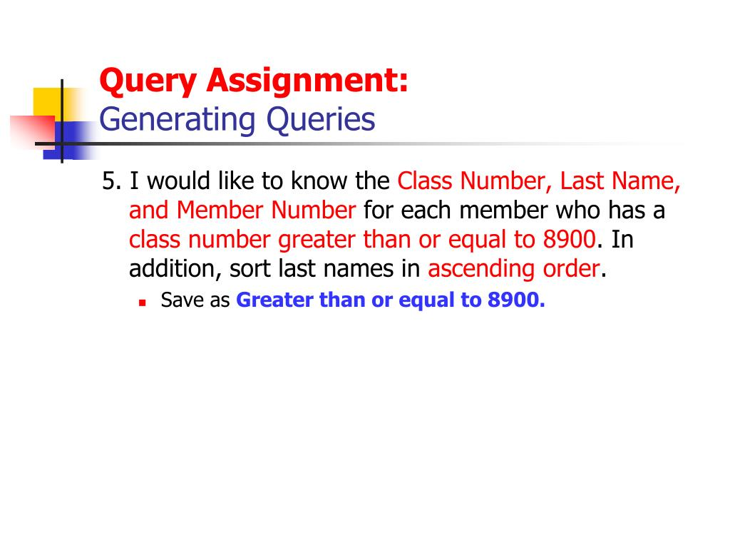 Query Assignment