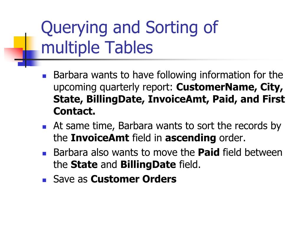 Querying and Sorting of