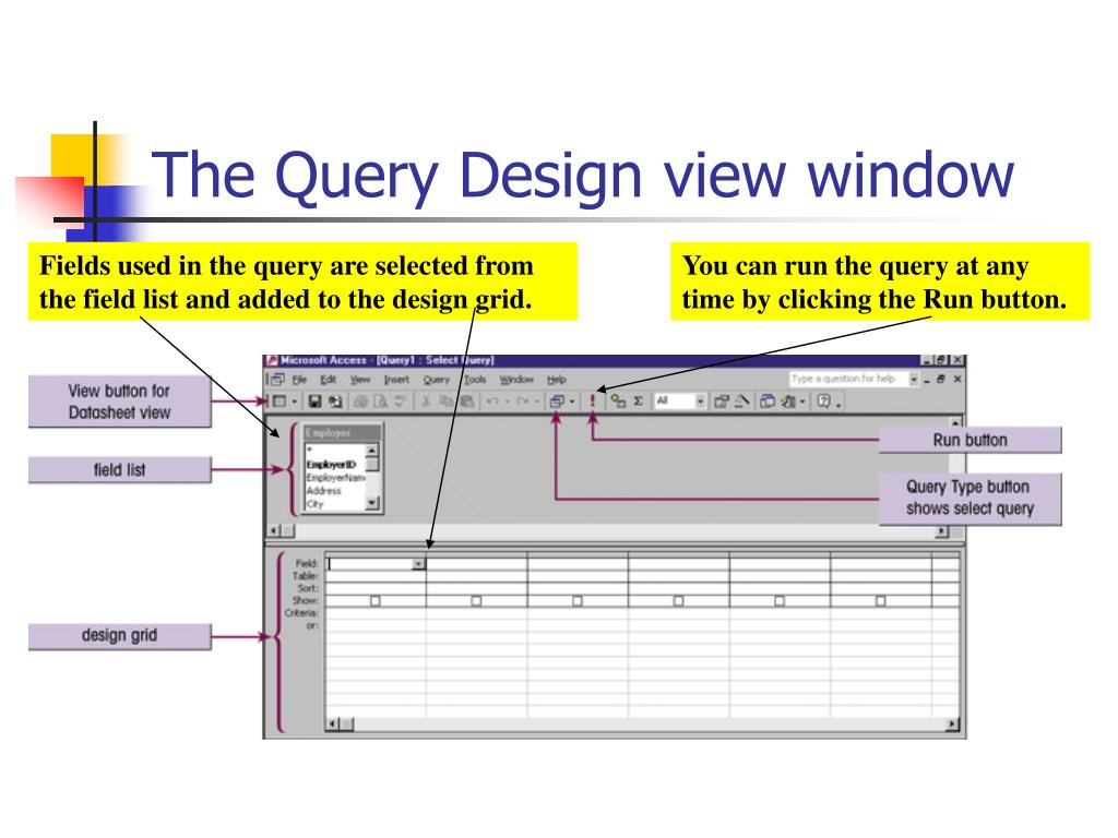 The Query Design view window