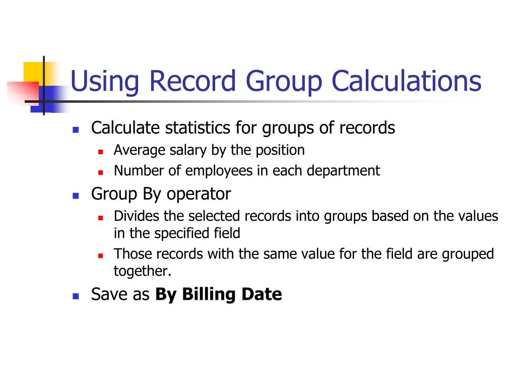 Using Record Group Calculations