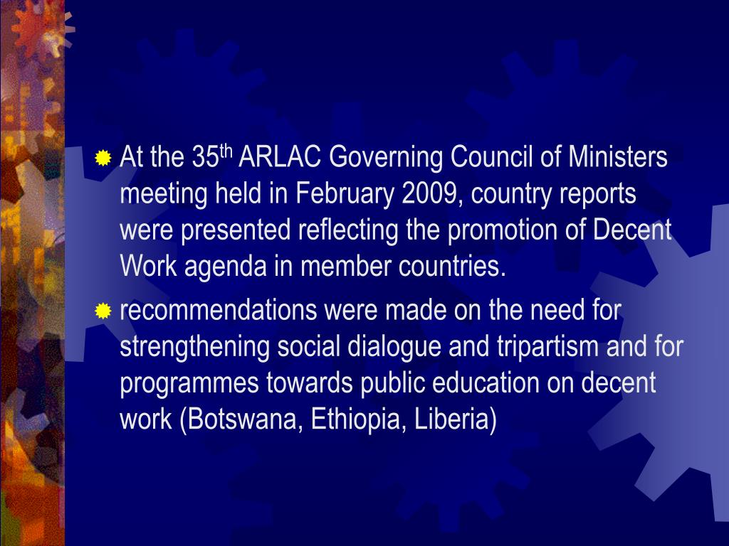 Status of DWCP in ARLAC countries
