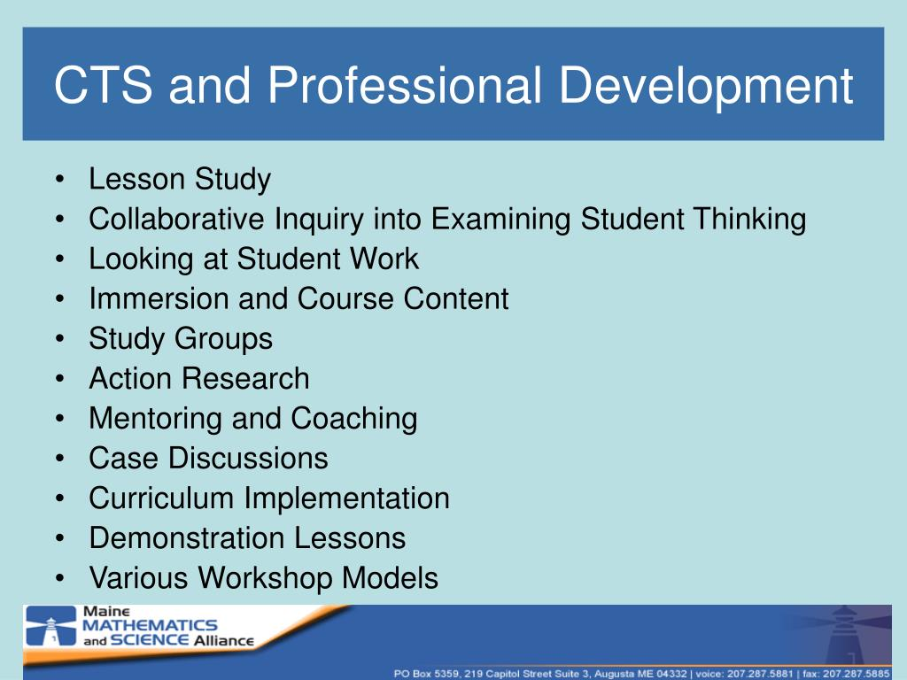 CTS and Professional Development