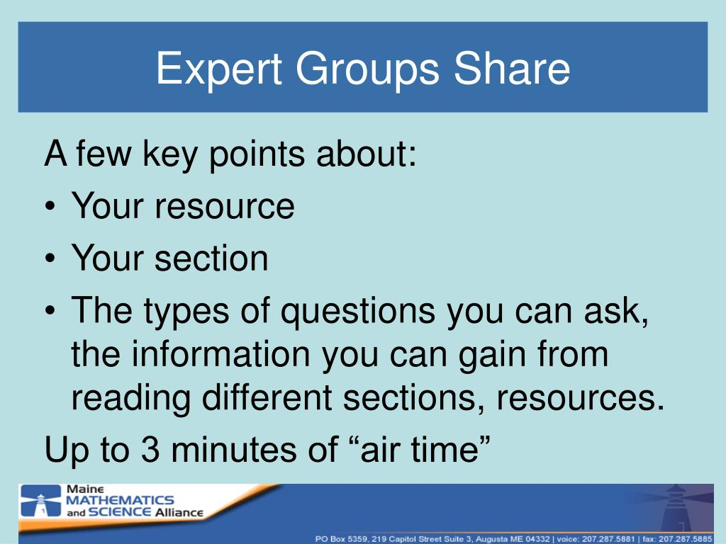 Expert Groups Share