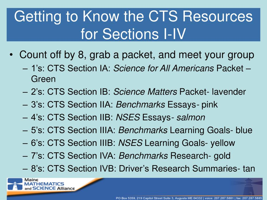 Getting to Know the CTS Resources for Sections I-IV