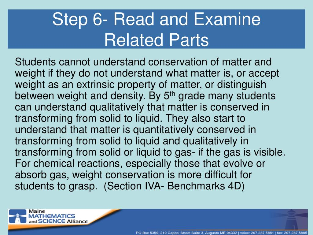 Step 6- Read and Examine