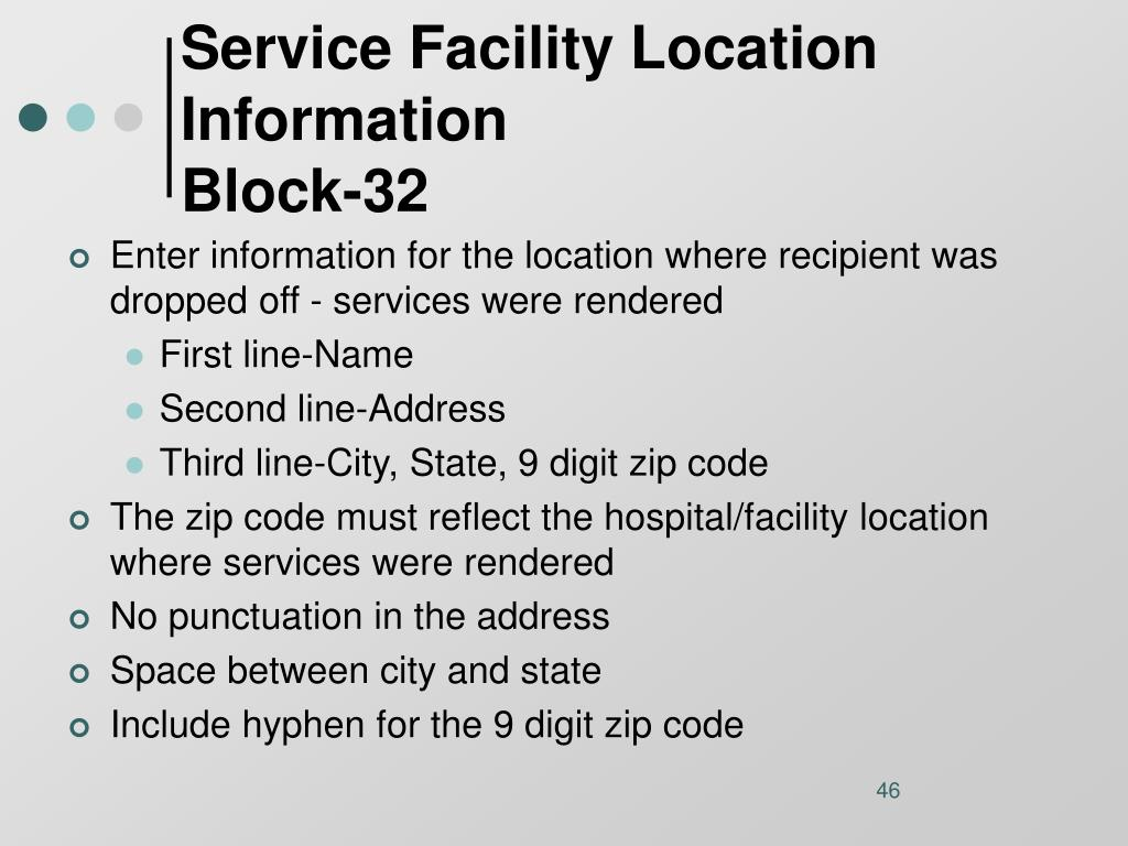 Service Facility Location Information