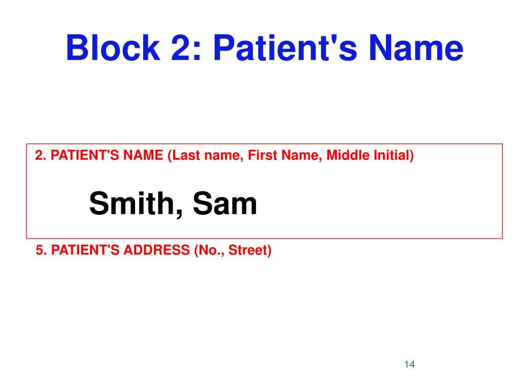 Block 2: Patient's Name