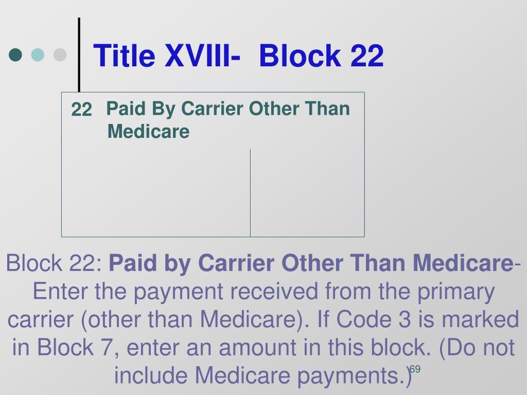 Title XVIII-  Block 22