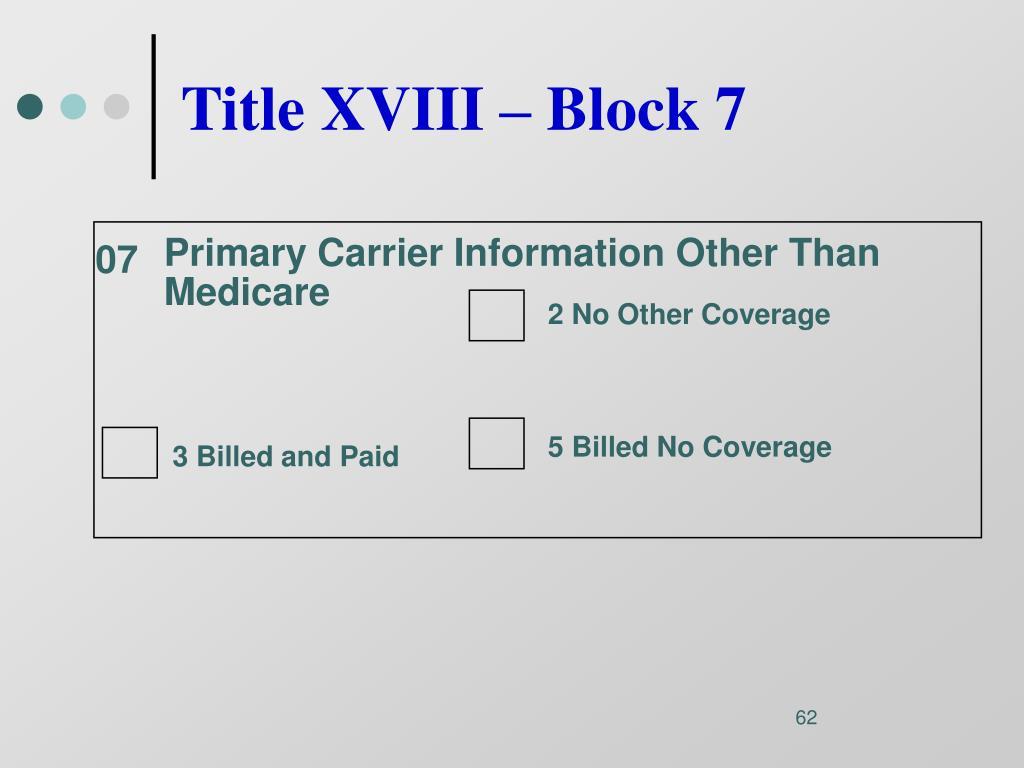 Title XVIII – Block 7