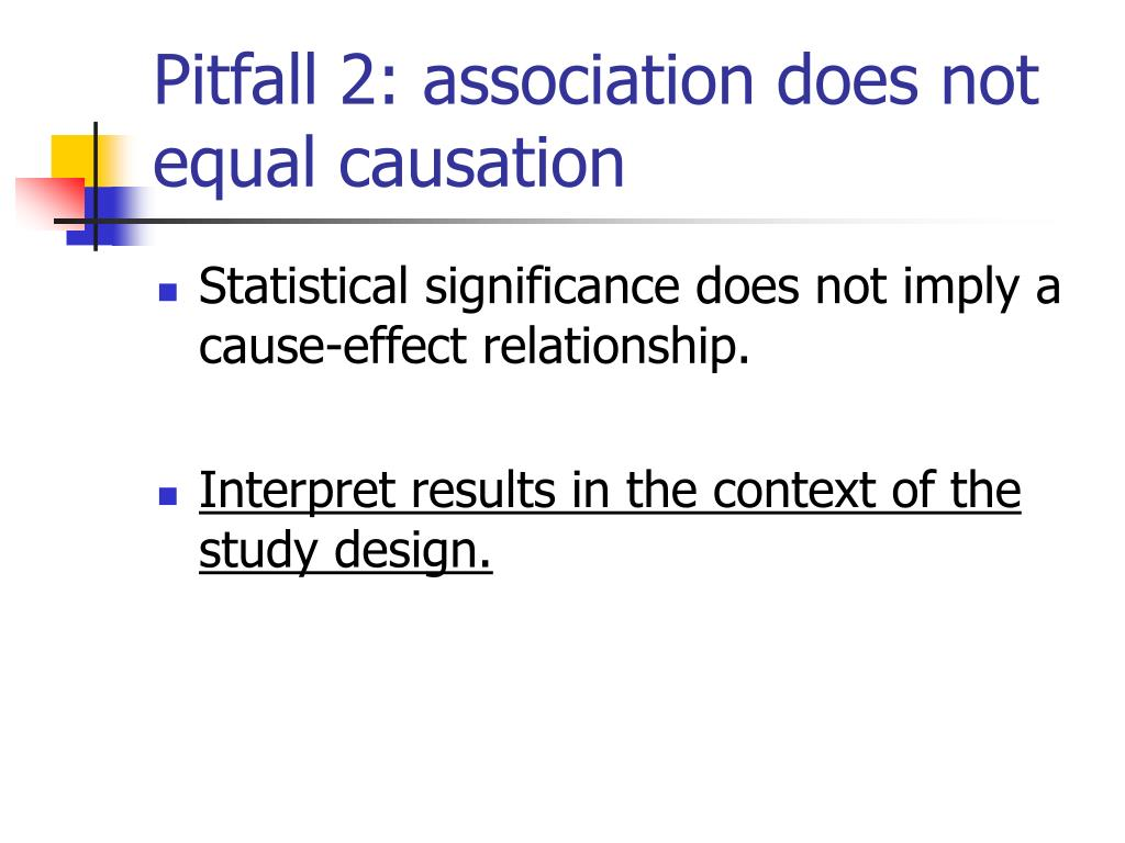 Pitfall 2: association does not equal causation