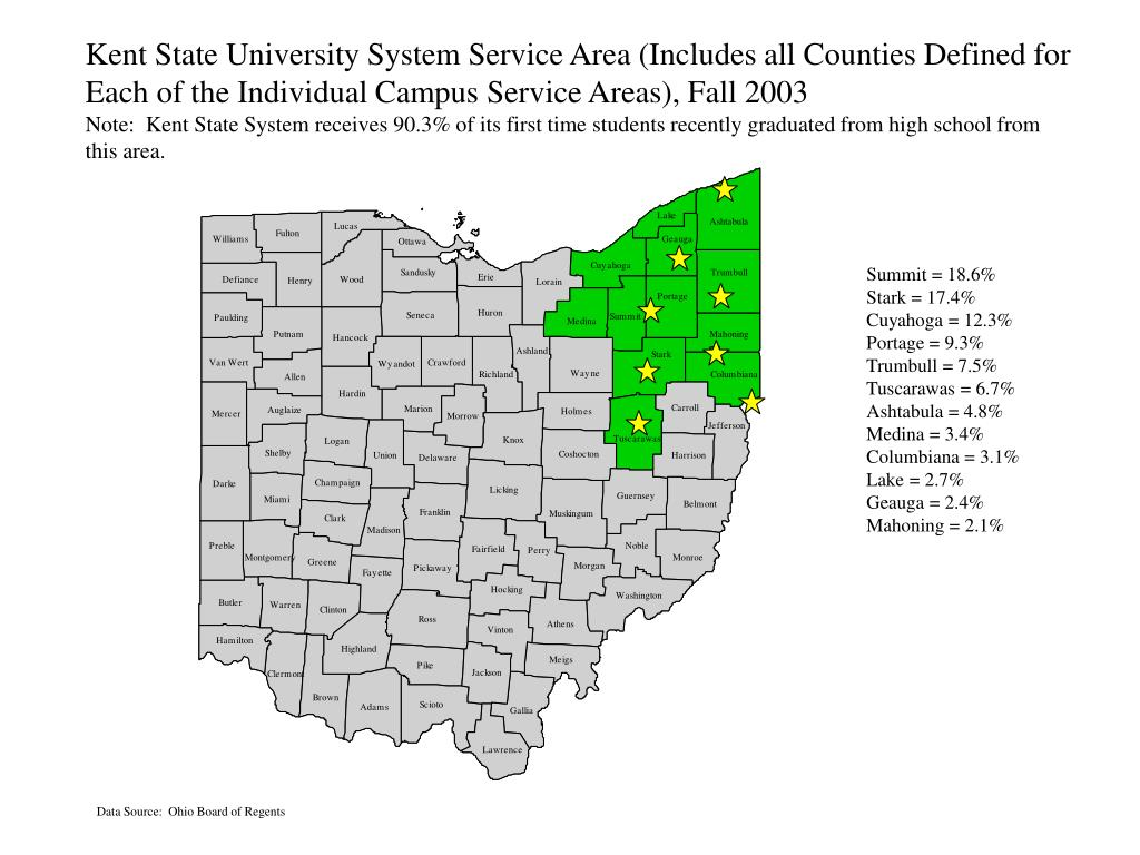 Kent State University System Service Area (Includes all Counties Defined for