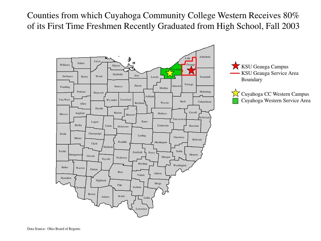 Counties from which Cuyahoga Community College Western Receives 80%