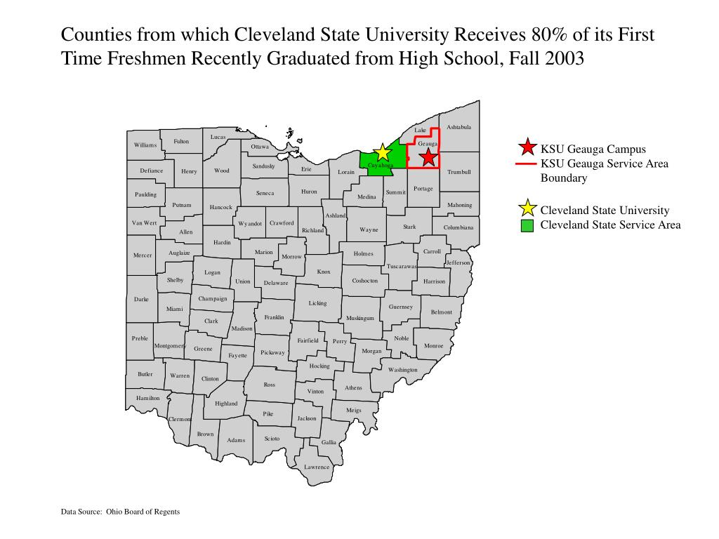 Counties from which Cleveland State University Receives 80% of its First