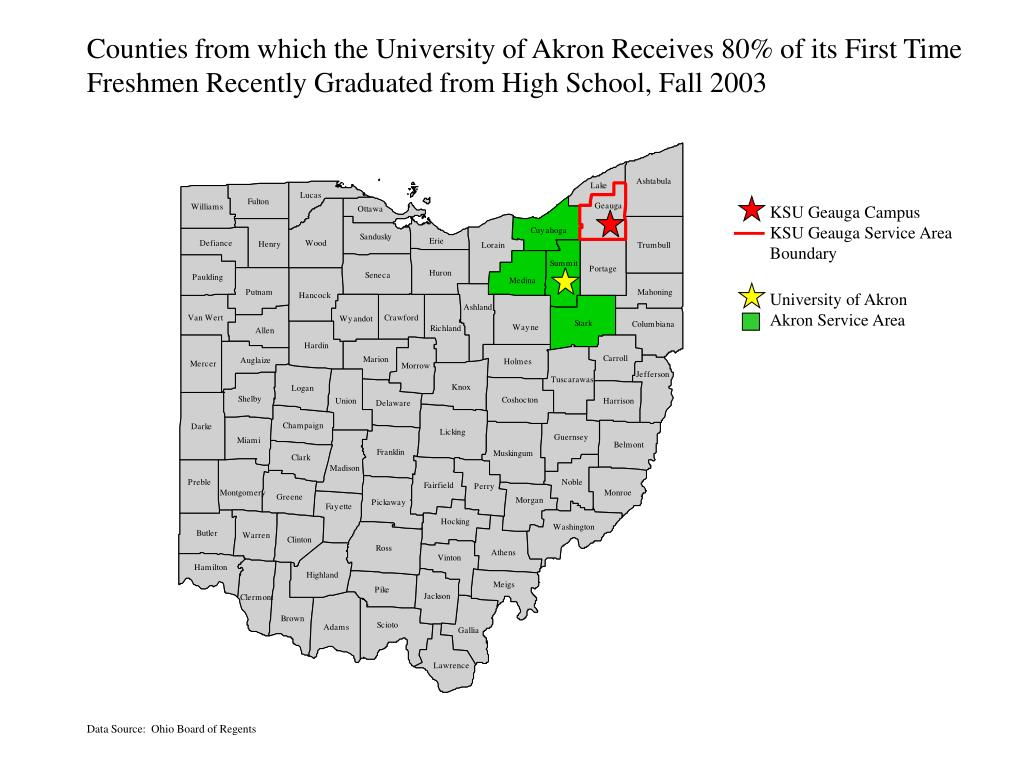 Counties from which the University of Akron Receives 80% of its First Time