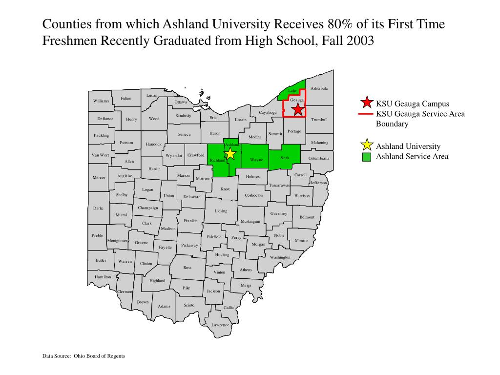 Counties from which Ashland University Receives 80% of its First Time