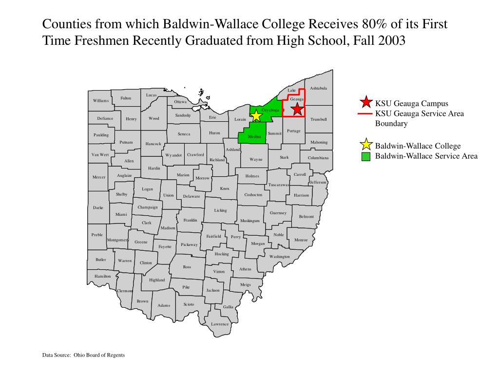 Counties from which Baldwin-Wallace College Receives 80% of its First