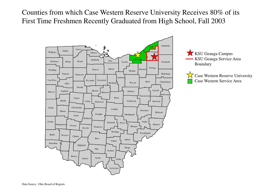 Counties from which Case Western Reserve University Receives 80% of its