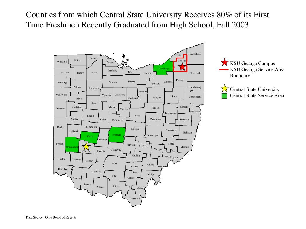 Counties from which Central State University Receives 80% of its First