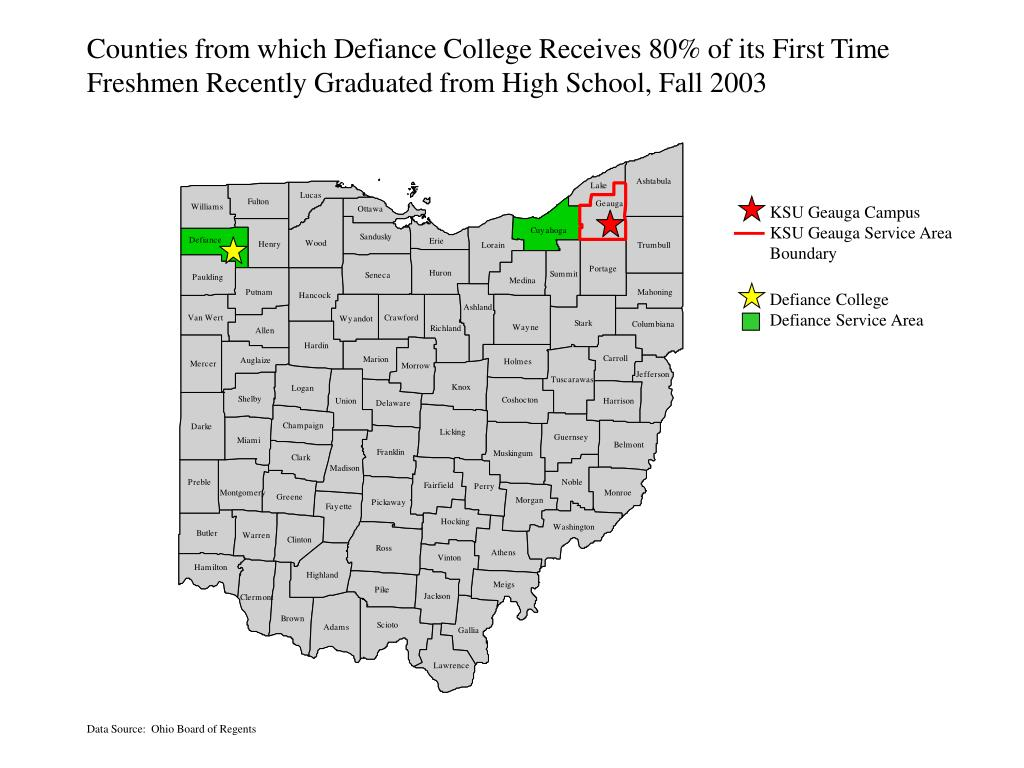 Counties from which Defiance College Receives 80% of its First Time