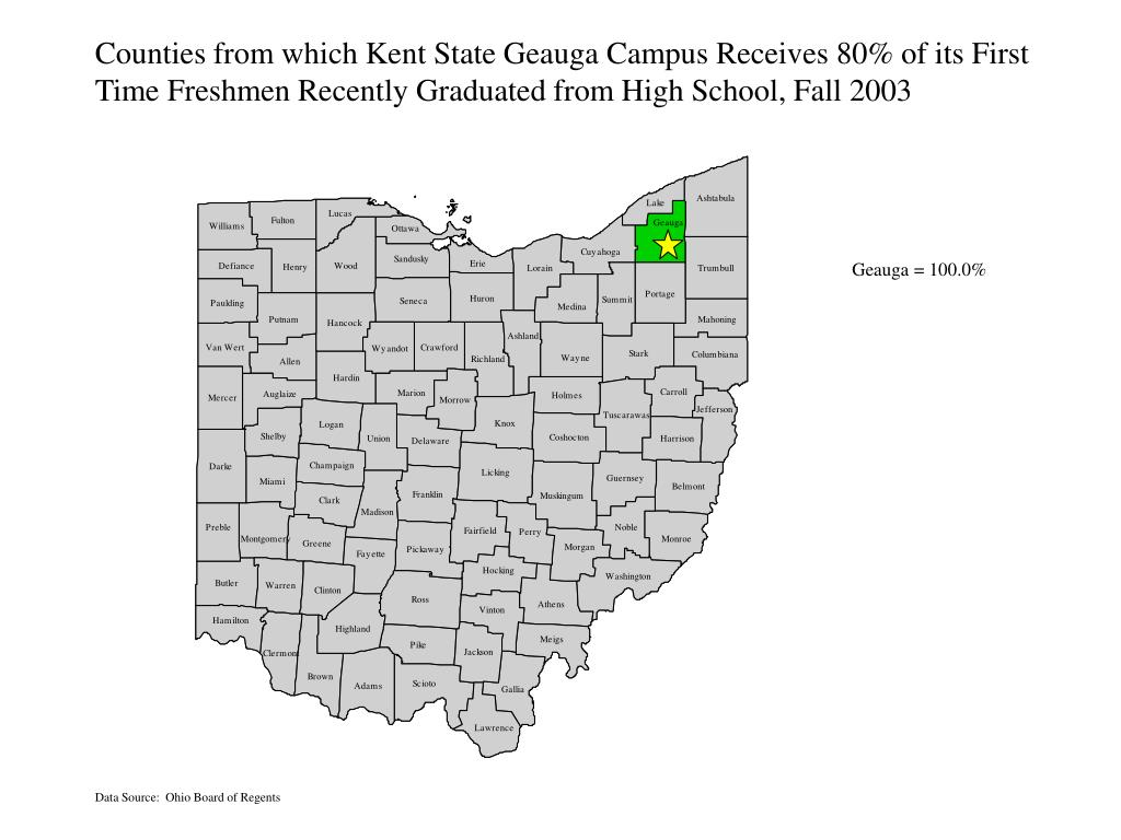 Counties from which Kent State Geauga Campus Receives 80% of its First