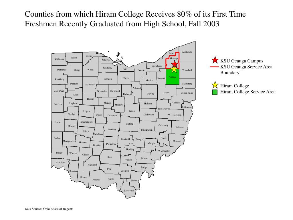 Counties from which Hiram College Receives 80% of its First Time