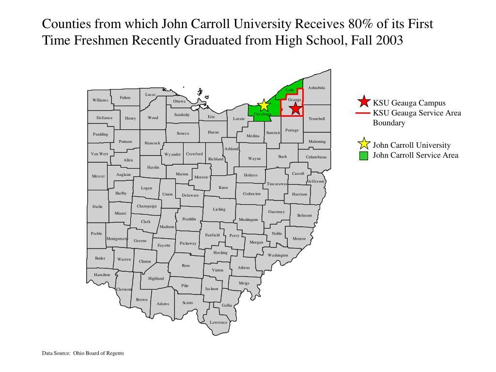 Counties from which John Carroll University Receives 80% of its First
