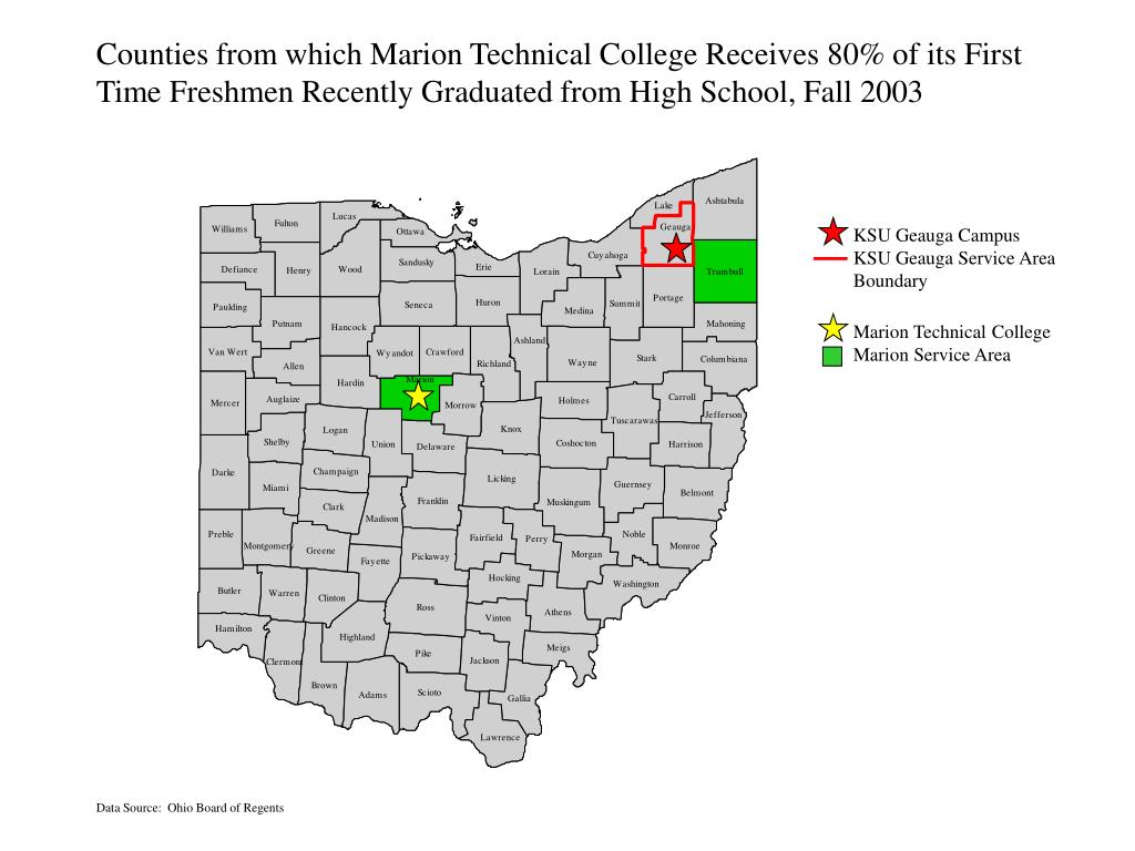 Counties from which Marion Technical College Receives 80% of its First