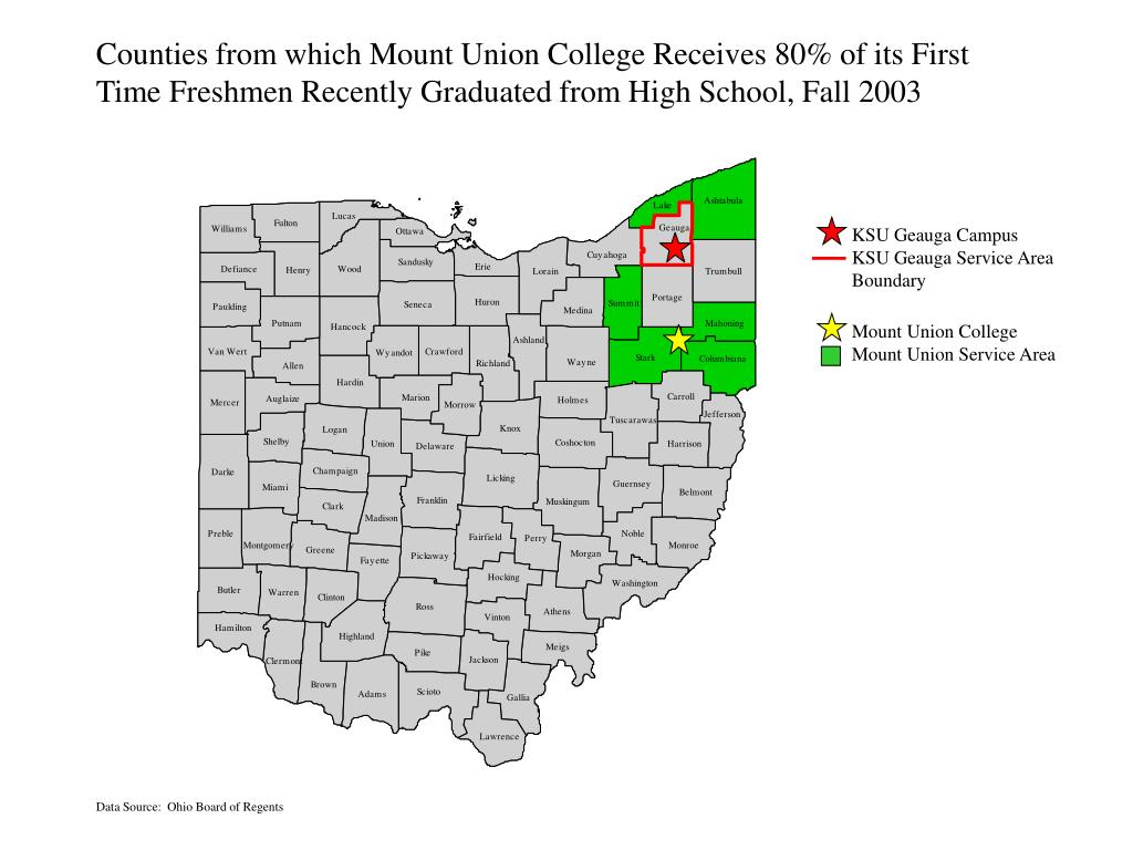 Counties from which Mount Union College Receives 80% of its First