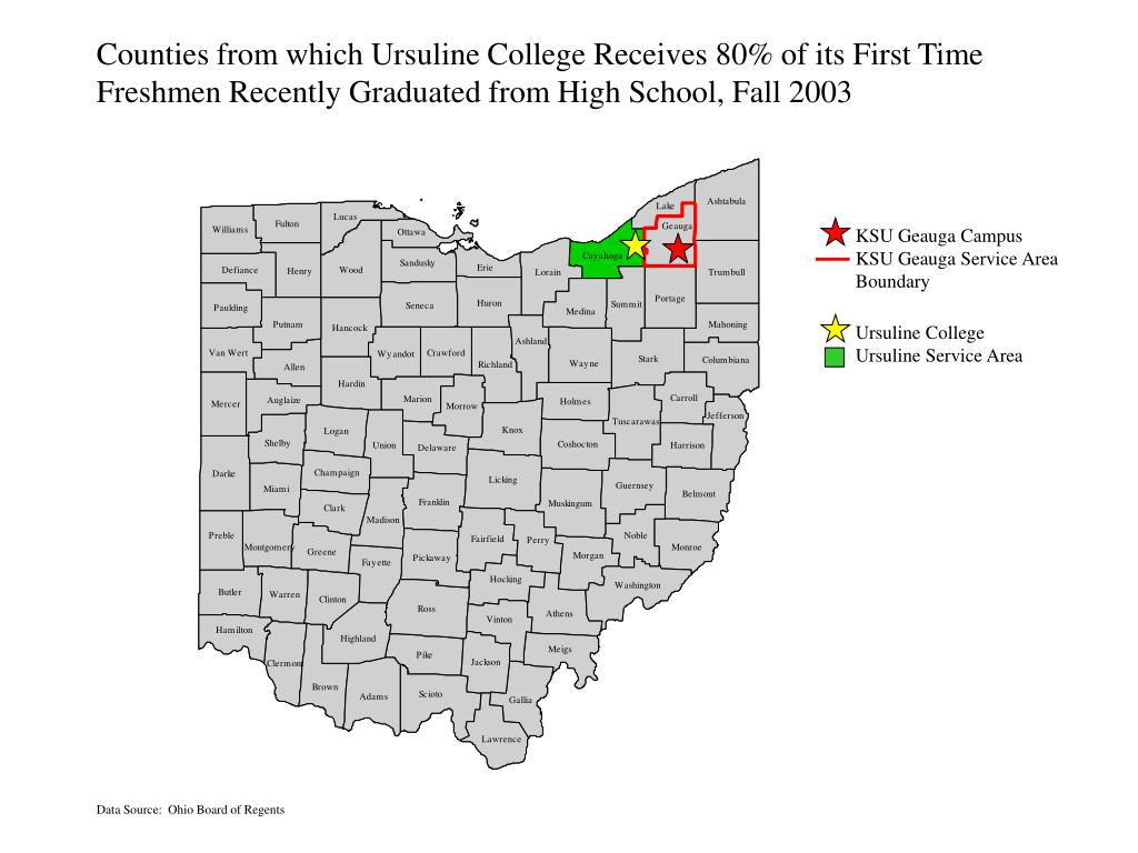 Counties from which Ursuline College Receives 80% of its First Time