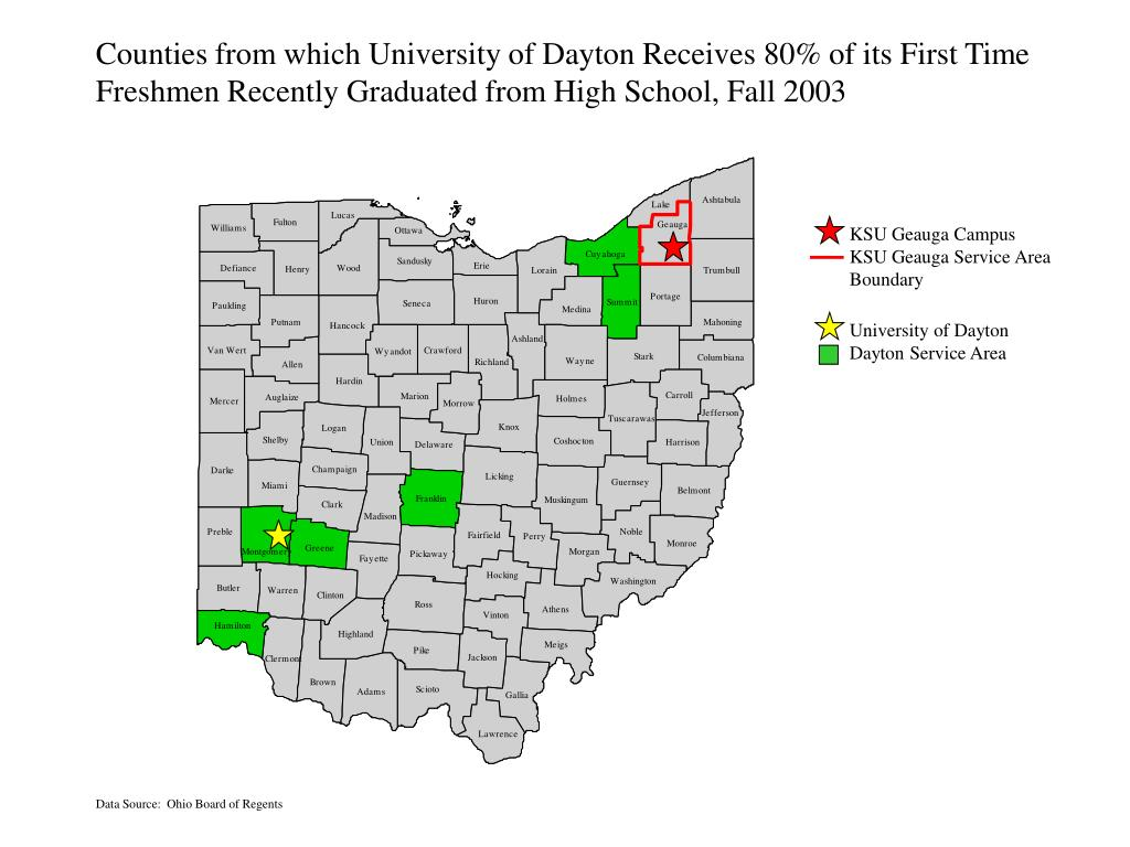 Counties from which University of Dayton Receives 80% of its First Time