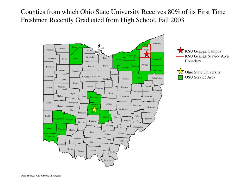Counties from which Ohio State University Receives 80% of its First Time
