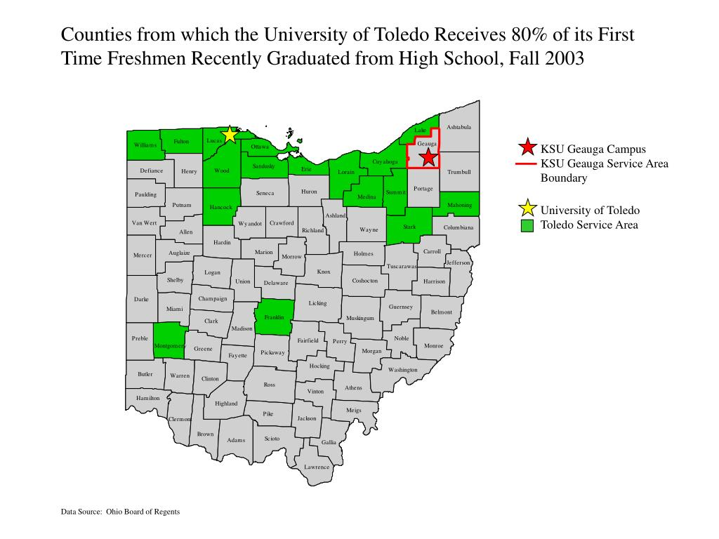 Counties from which the University of Toledo Receives 80% of its First