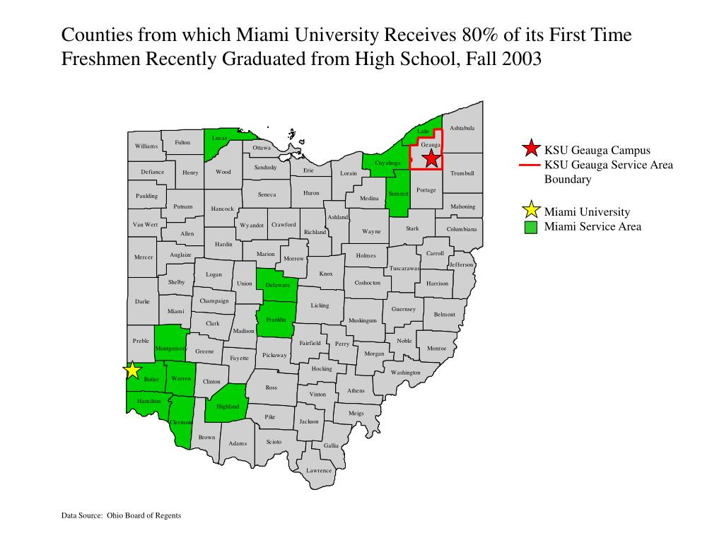 Counties from which Miami University Receives 80% of its First Time