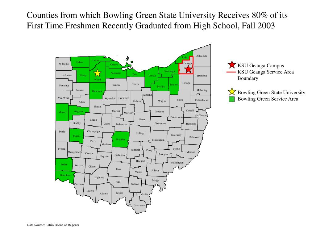 Counties from which Bowling Green State University Receives 80% of its