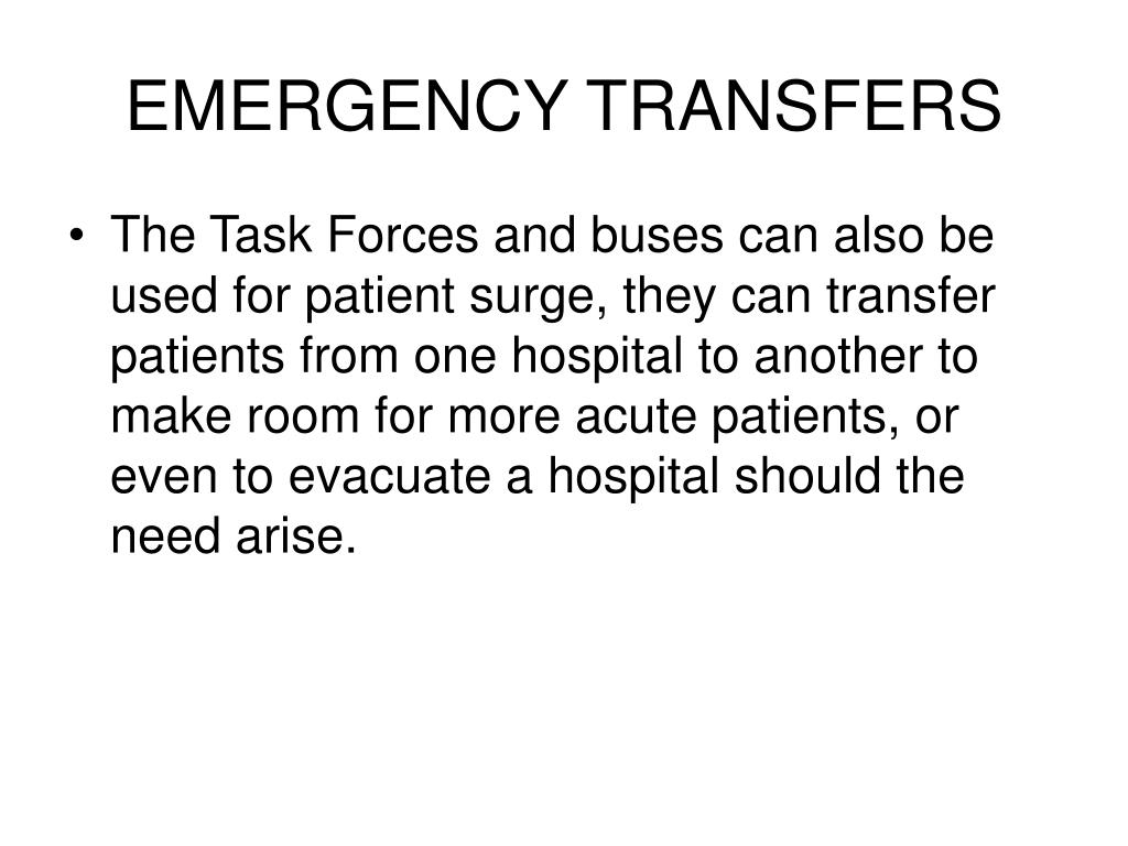 EMERGENCY TRANSFERS