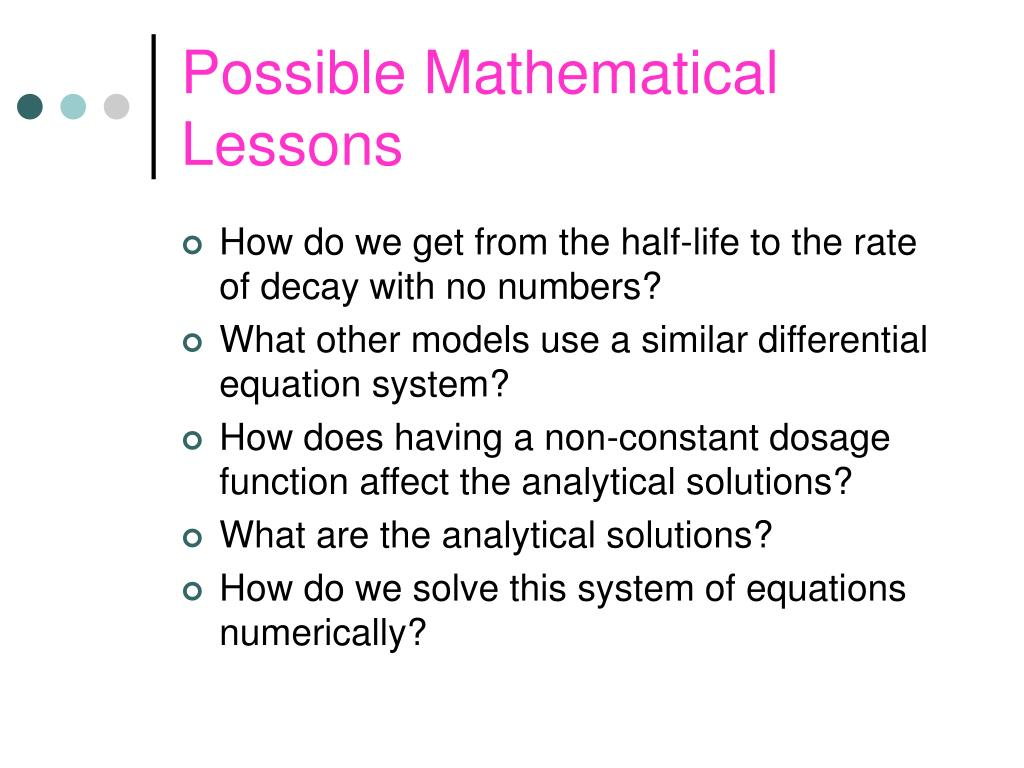 Possible Mathematical Lessons