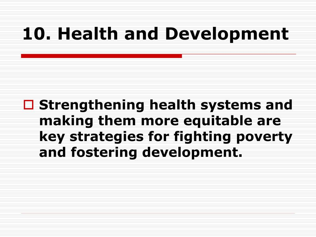 10. Health and Development