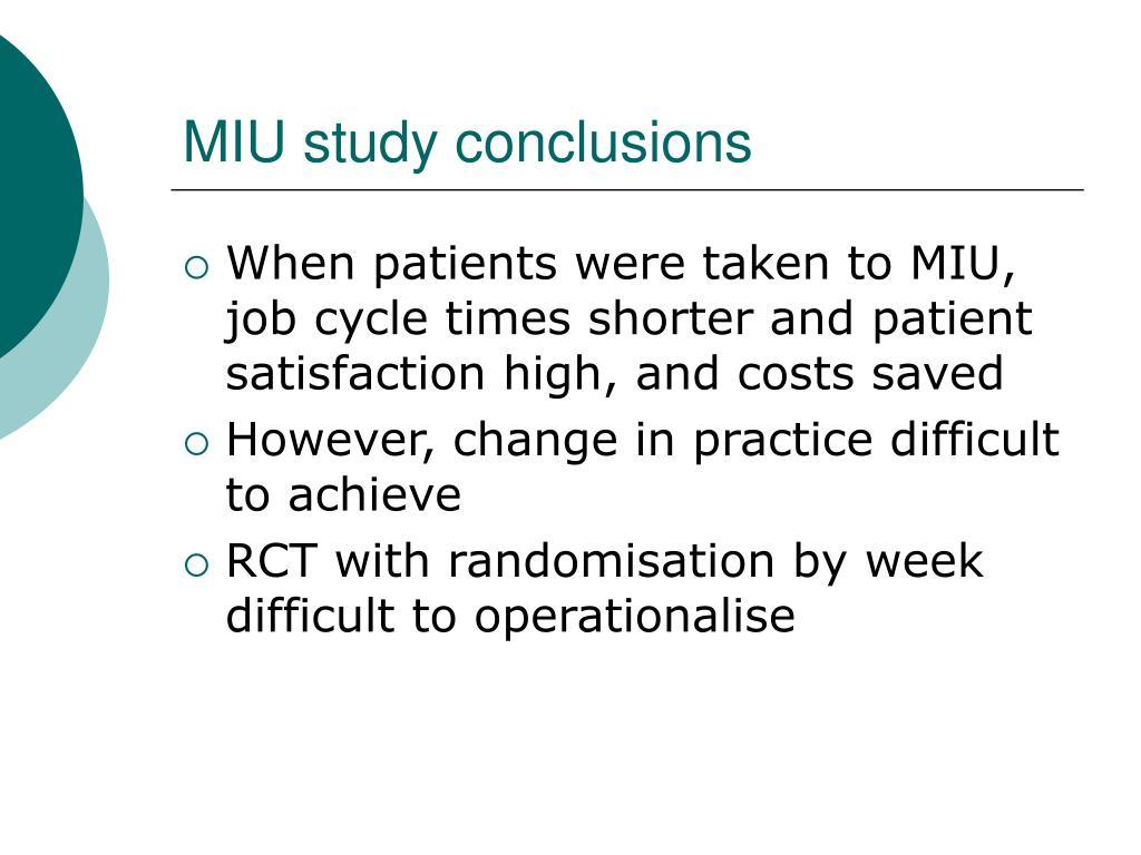 MIU study conclusions
