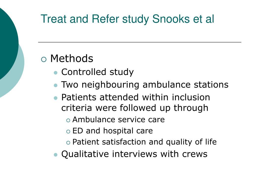 Treat and Refer study Snooks et al