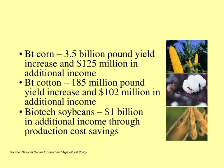 Bt corn – 3.5 billion pound yield increase and $125 million in additional income